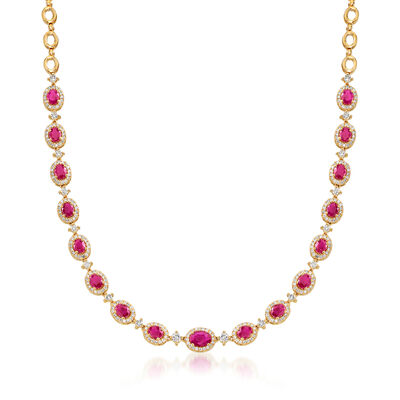 8.20 ct. t.w. Ruby and 2.75 ct. t.w. Diamond Necklace in 14kt Yellow Gold