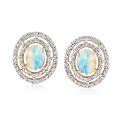 Opal and .72 ct. t.w. Diamond Earrings in 14kt Yellow Gold , , default
