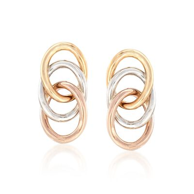 14kt Tri-Colored Gold Triple Loop Earrings, , default