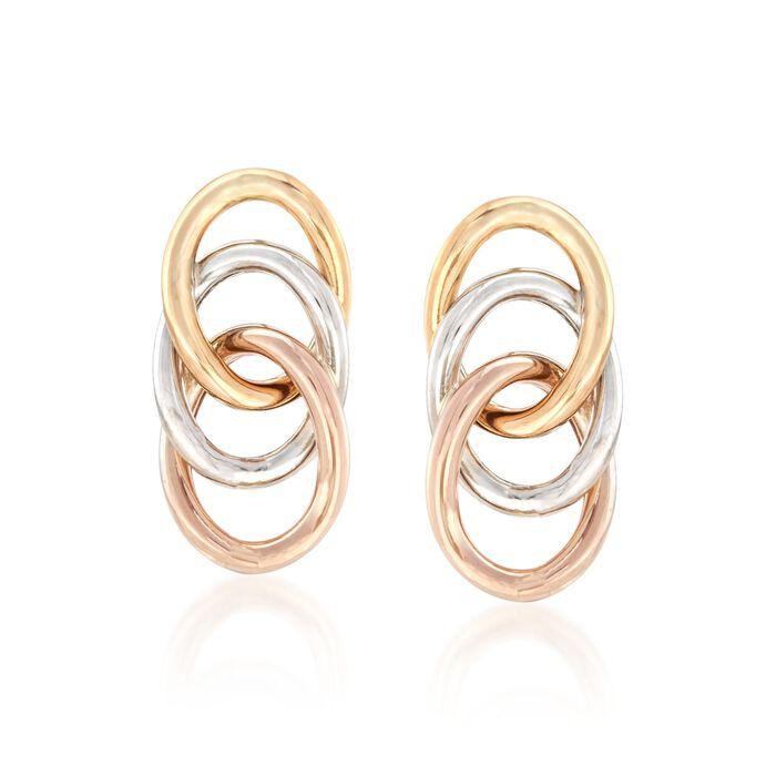 14kt Tri-Colored Gold Triple Loop Earrings