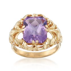 C. 1960 Vintage 3.80 Carat Amethyst Openwork Scroll Ring in 14kt Yellow Gold, , default