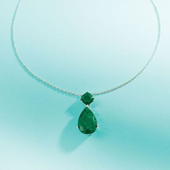 """11.90 ct. t.w. Emerald Pendant Necklace in Sterling Silver. 18"""", , default"""