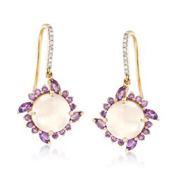 Rose Quartz and .80 ct. t.w. Amethyst Drop Earrings With Diamond Accents in 14kt Yellow Gold, , default