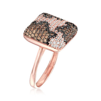 .20 ct. t.w. Multicolored CZ Leopard Print Ring in 18kt Rose Gold Over Sterling, , default