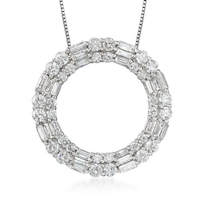 3.00 ct. t.w. Diamond Circle Pendant Necklace in 14kt White Gold, , default