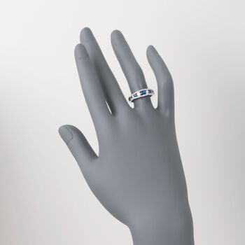 Gregg Ruth .38 ct. t.w. Sapphire and .46 ct. t.w. Diamond Ring in 18kt White Gold, , default