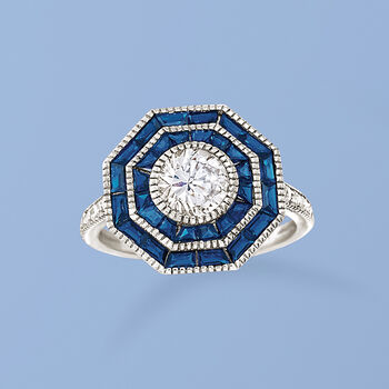 1.60 ct. t.w. Simulated Sapphire and 1.05 ct. t.w. CZ Ring in Sterling Silver, , default
