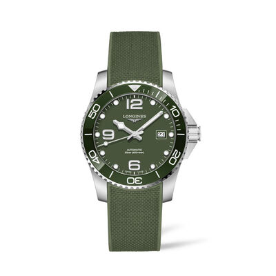 Longines Hydroconquest Men's 41mm Automatic Stainless Steel Watch with Green Rubber