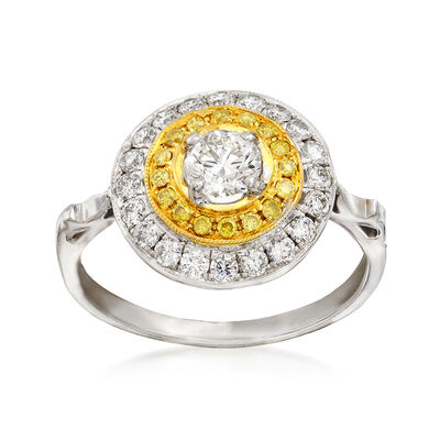 C. 2000 Vintage .83 ct. t.w. Fancy Yellow and White Diamond Circle Ring in 18kt Two-Tone Gold