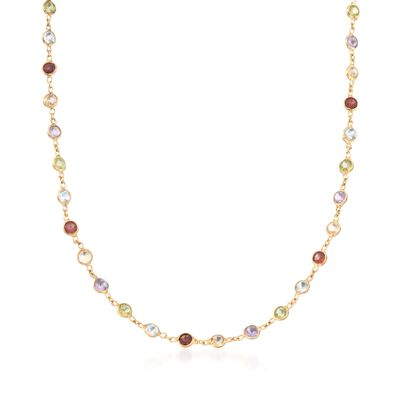 8.85 ct. t.w. Multi-Stone Necklace in 14kt Gold Over Sterling, , default