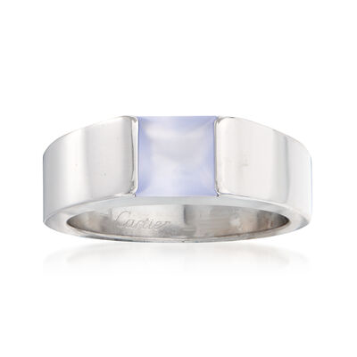 C. 2000 Vintage Cartier Blue Chalcedony Ring in 18kt White Gold