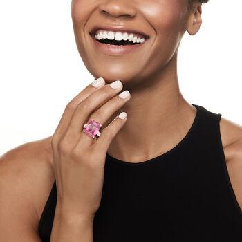 12.00 Carat Pink Topaz Ring in Sterling Silver, , default