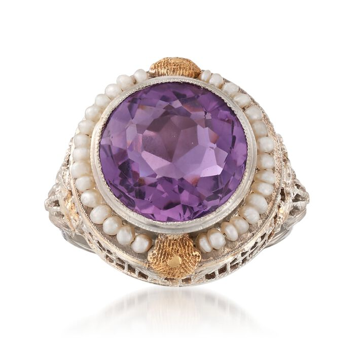 C. 1950 Vintage 3.95 Carat Amethyst and Cultured Seed Pearl Ring in 14kt Two-Tone Gold. Size 6, , default