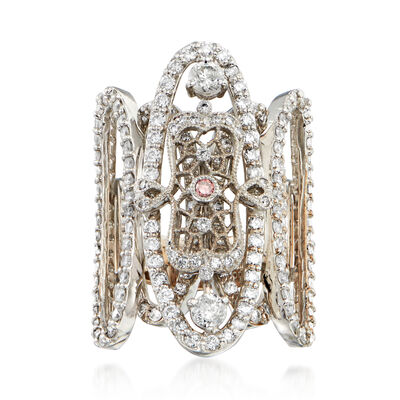 C. 2000 Vintage 3.81 ct. t.w. Diamond Cocktail Ring with Pink Diamond Accent in Platinum and 18kt White Gold