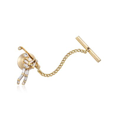 C. 1990 Vintage Jose Hess .49 ct. t.w. Diamond Golfer Tie Tack in 18kt Yellow Gold