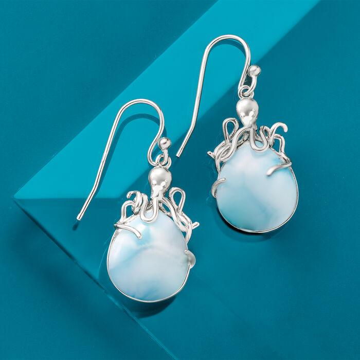 Larimar Octopus Drop Earrings in Sterling Silver