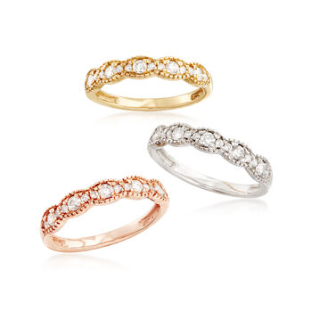 Set of Three 1.00 ct. t.w. Diamond Rings in Tri-Colored Gold, , default