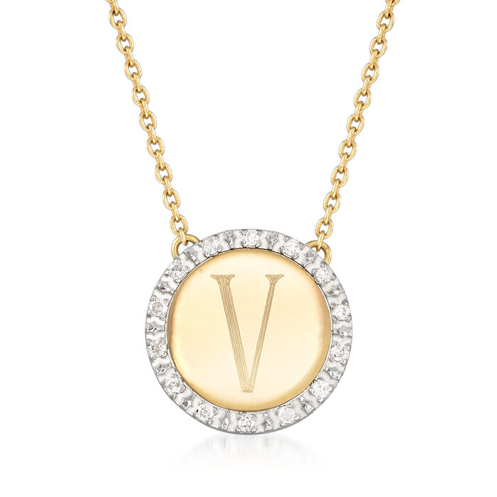 Italian .11 ct. t.w. Diamond Single Initial Disc Necklace in 14kt Two-Tone Gold, , default