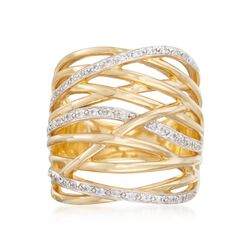 .30 ct. t.w. CZ Crisscross Ring in 18kt Gold Over Sterling, , default