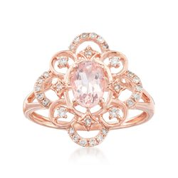 .60 Carat Morganite and .22 ct. t.w. Diamond Ring in 14kt Rose Gold. Size 5, , default