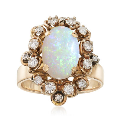 C. 1970 Vintage 2.65 Carat Opal and .55 ct. t.w. Diamond Ring in 14kt Yellow Gold, , default