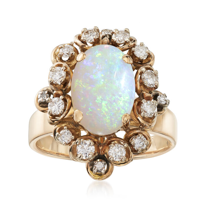 C. 1970 Vintage 2.65 Carat Opal and .55 ct. t.w. Diamond Ring in 14kt Yellow Gold. Size 8