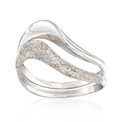 C. 1990 Vintage Textured and Polished Wavy Ring in 14kt White Gold, , default