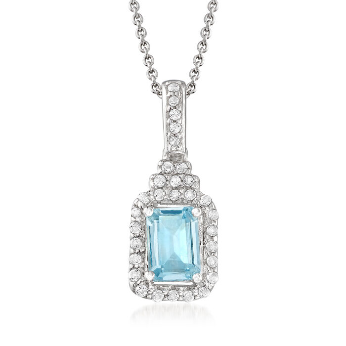 .90 Carat Aquamarine and .30 ct. t.w. White Topaz Pendant Necklace in Sterling Silver