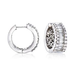 2.00 ct. t.w. Diamond Hoop Earrings in 14kt White Gold, , default