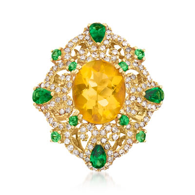 C. 1980 Vintage Fire Opal, 1.15 ct. t.w. Tsavorite and .60 ct. t.w. Diamond Ring in 18kt Yellow Gold