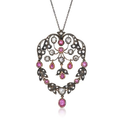 C. 1970 Vintage 2.20 ct. t.w. Ruby and 3.20 ct. t.w. Diamond Pin Pendant Necklace in Sterling Silver and 18kt Gold