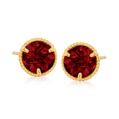 1.60 ct. t.w. Garnet Roped Halo Stud Earrings in 14kt Yellow Gold, , default