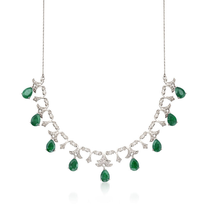 20.00 ct. t.w. Emerald and .28 ct. t.w. Diamond Necklace in Sterling Silver
