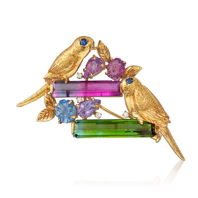 C. 1970 Vintage 10.15 ct. t.w. Multi-Gemstone Bird Pin in 18kt Yellow Gold, , default