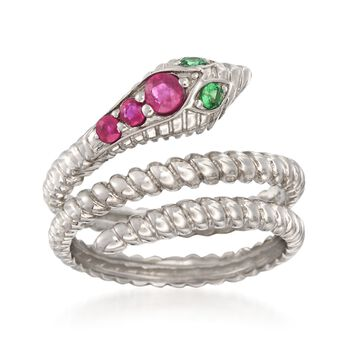 .31 ct. t.w. Ruby Snake Ring With Green Tsavorite Accents in Sterling Silver, , default