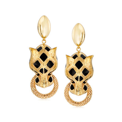 18kt Yellow Gold Panther Doorknocker Earrings with Black Enamel, , default