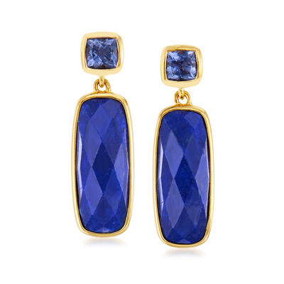 Lapis and .40 ct. t.w. Iolite Drop Earrings in 18kt Gold Over Sterling