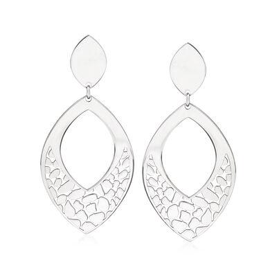 Italian Sterling Silver Openwork Drop Earrings