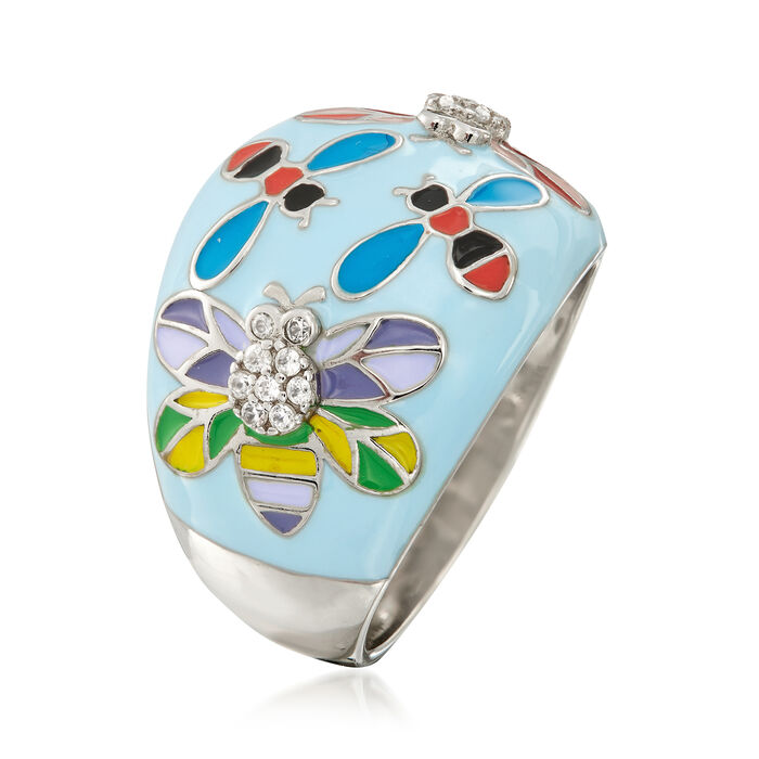 .10 ct. t.w. White Topaz and Multicolored Enamel Critter Ring in Sterling Silver