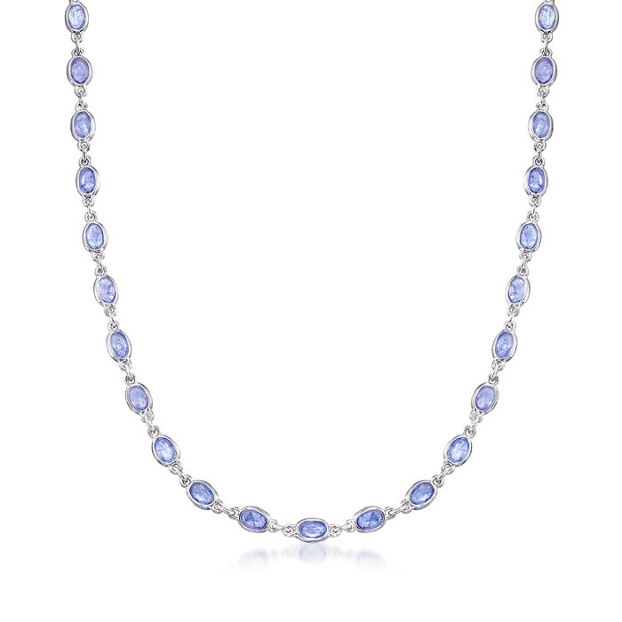 19.00 ct. t.w. Tanzanite Station Necklace in Sterling Silver