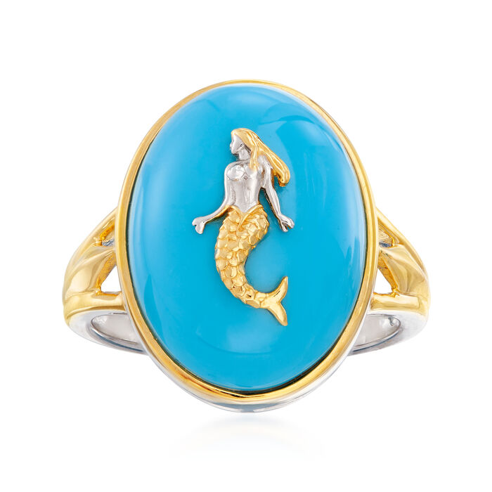 Mermaid Turquoise Ring in Sterling Silver and 18kt Gold Over Sterling