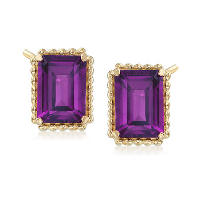 2.90 ct. t.w. Amethyst and 14kt Yellow Gold Beaded Frame Earrings, , default