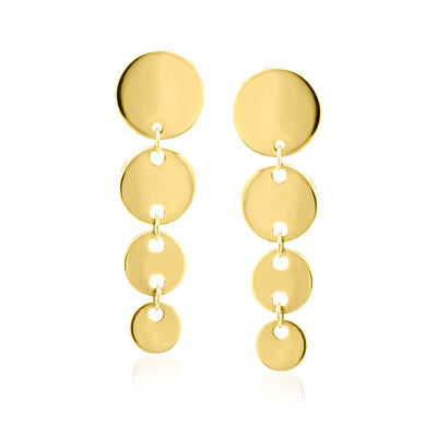 14kt Yellow Gold Graduated Disc Drop Earrings