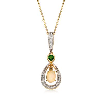 7x5mm Opal and .30 ct. t.w. Multi-Stone Pendant Necklace in 18kt Yellow Gold Over Sterling Silver, , default