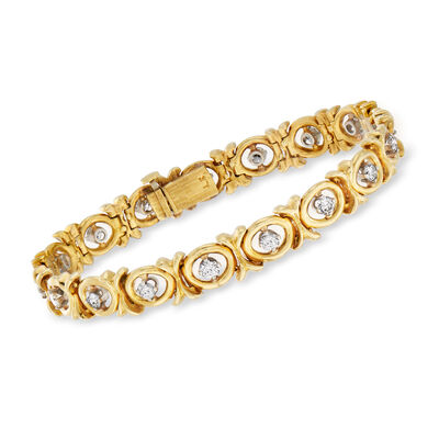 C. 1970 Vintage 2.20 ct. t.w. Diamond X and O Bracelet in 18kt Yellow Gold, , default
