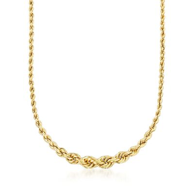 14kt Yellow Gold Graduated Rope Chain Necklace, , default