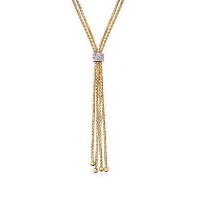 "Phillip Gavriel ""Popcorn"" .12 ct. t.w. Diamond Lariat Necklace in 14kt Yellow Gold, , default"