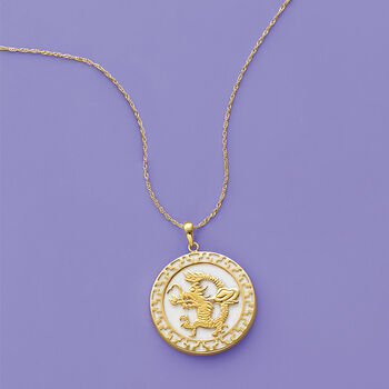 White Agate Dragon Pendant Necklace in 14kt Yellow Gold., , default