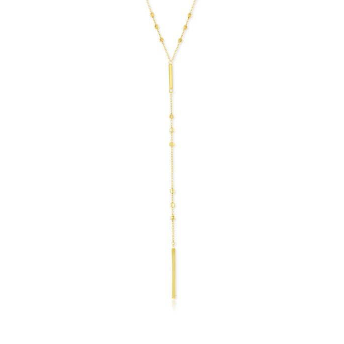 """Italian 18kt Gold Over Sterling Silver Bead and Bar Y-Necklace. 22"""""""