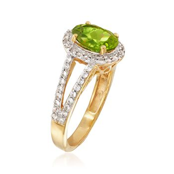 1.90 Carat Peridot and .80 ct. t.w. White Zircon Ring in 18kt Gold Over Sterling